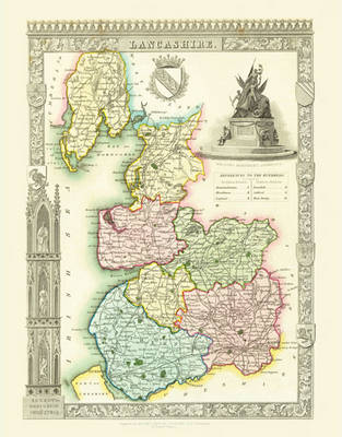 """Thomas Moule Map of Lancashire 1836: 20"""" x 16"""" Photographic Print of the County of Lancashire - England"""