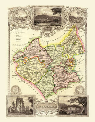 """Thomas Moule Map of Leicestershire 1836: 20"""" x 16"""" Photographic Print of the County of Leicestershire - England"""
