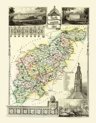 """Thomas Moule Map of Northamptonshire 1836: 20"""" x 16"""" Photographic Print of the County of Northamptonshire - England"""