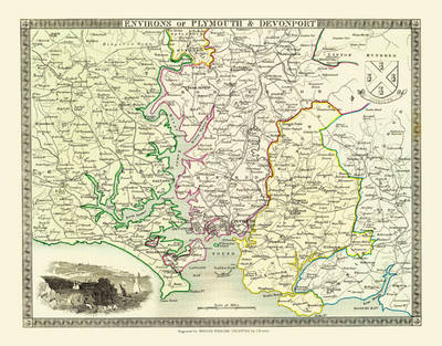 """Thomas Moule Map of the Environs of Plymouth & Devonport 1836: 20"""" x 16"""" Photographic Print of the Environs of Plymouth & Devonport - England"""