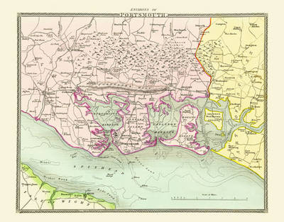 """Thomas Moule Map of the Environs of Portsmouth 1836: 20"""" x 16"""" Photographic Print of the Environs of Portsmouth - England"""