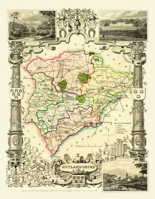 """Thomas Moule Map of Rutlandshire 1836: 20"""" x 16"""" Photographic Print of the County of Rutlandshire - England"""