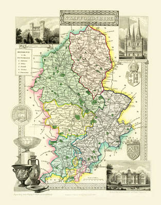 """Thomas Moule Map of Staffordshire 1836: 20"""" x 16"""" Photographic Print of the County of Staffordshire - England"""