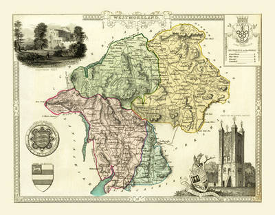 """Thomas Moule Map of Westmoreland 1836: 20"""" x 16"""" Photographic Print of the County of Westmoreland - England"""