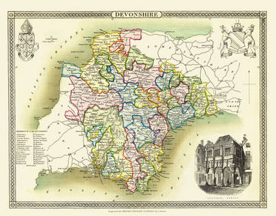 "Thomas Moule Map of Devonshire 1836: 20"" x 16"" Photographic Print of the County of Devon - England"