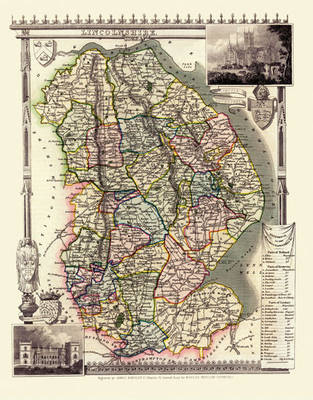 "Thomas Moule Map of Lincolnshire 1836: 20"" x 16"" Photographic Print of the County of Lincolnshire - England"