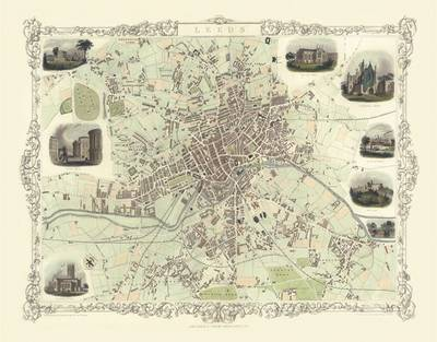 John Tallis Map of Leeds 1851: Colour Print of Leeds Town Plan 1851 by John Tallis