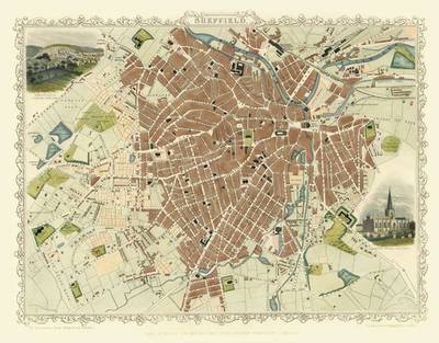 John Tallis Map of Sheffield 1851: Colour Print of Sheffield Town Plan 1851 by John Tallis