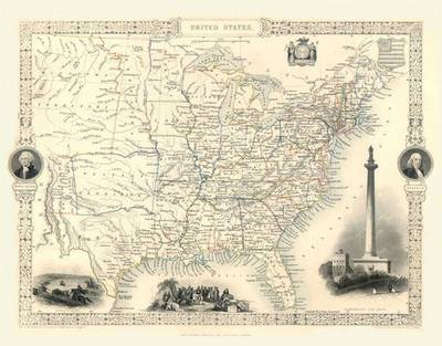 John Tallis Map of United States 1851: Colour Print of Map of United States 1851 by John Tallis