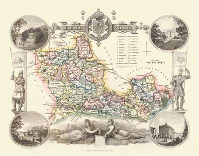 Thomas Moules Map of Berkshire 1837: Colour Print of County Map of Berkshire 1837 by Thomas Moule