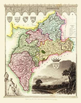 Thomas Moules Map of Cumberland 1837: Colour Print of County Map of Cumberland 1837 by Thomas Moule