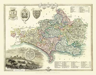 Thomas Moules Map of Dorsetshire 1837: Colour Print of County Map of Dorsetshire 1837 by Thomas Moule