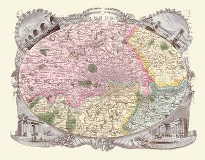 Thomas Moules Map of London 1837: Colour Print of Map of London 1837 by Thomas Moule
