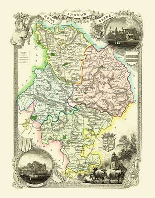 Thomas Moules Map of Huntinghamshire 1837: Colour Print of County Map of Huntinghamshire 1837 by Thomas Moule
