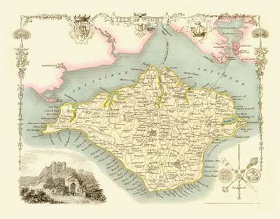 Thomas Moules Map of Isle of Wight 1837: Colour Print of Map of Isle of Wight 1837 by Thomas Moule