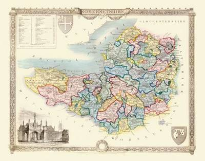 Thomas Moules Map of Somersetshire 1837: Colour Print of County Map of Somersetshire 1837 by Thomas Moule
