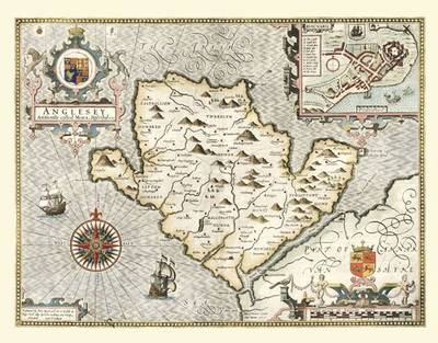 John Speeds Map of Anglesey 1611: Colour Print of Map of Anglesey 1611 by John Speed