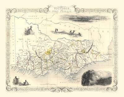 John Tallis Map of Victoria Australia 1851: Colour Print of Map of Victoria or Port Phillip Australia 1851 by John Tallis