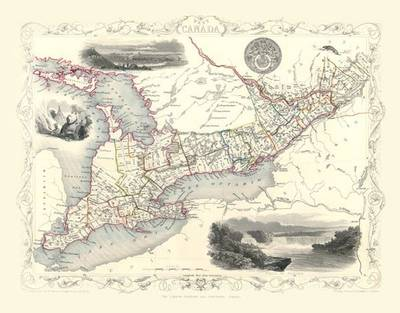 John Tallis Map of West Canada 1851: Colour Print of Map of West Canada 1851 by John Tallis