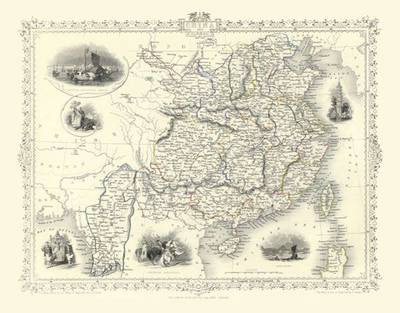 John Tallis Map of China 1851: Colour Print of Map of China 1851 by John Tallis