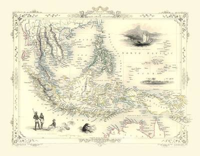 John Tallis Map of the East Indian Islands 1851: Colour Print of Map of the East India Islands or Malay Archipelaco 1851 by John Tallis