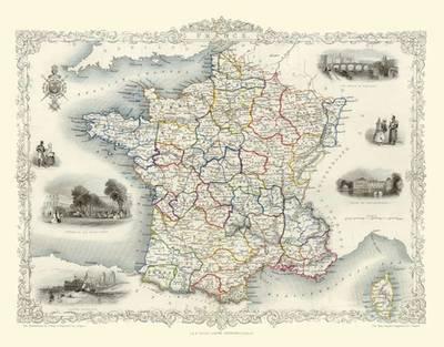 John Tallis Map of France 1851: Colour Print of Map of France 1851 by John Tallis