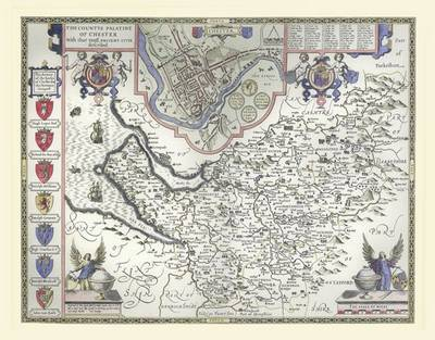 "John Speed's Map of Cheshire 1611: 30"" x 25"" Large Photographic Poster Print of Cheshire - England"