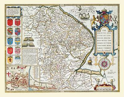 """John Speed's Map of Lincolnshire 1611: 30"""" x 25"""" Large Photographic Print of Lincolnshire - England"""