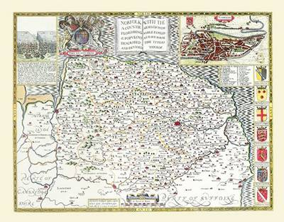 "John Speed's Map of Norfolk 1611: 30"" x 25"" Large Photographic Poster Print of Norfolk 1611"