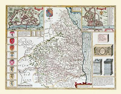 "John Speed's Map of Northumberland 1611: 30"" x 25"" Large Photographic Poster Print of Northumberland - England"