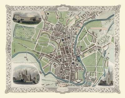 John Tallis Map of Bath 1851: Large Poster Sized Photographic Quality Print of Map of Bath 1851