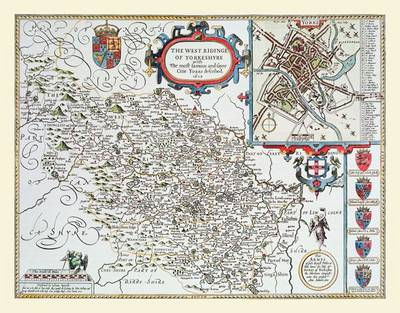 """John Speed Map of the West Rydings of Yorkshire 1611: 20"""" x 16"""" Photographic Print of the West Riding of Yorkshire - England"""