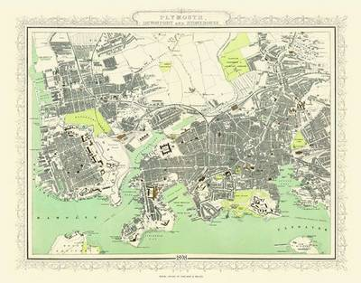 Collins Map of Plymouth and Devonport 1898: Colour Print of Map of Plymouth and Devonport 1898