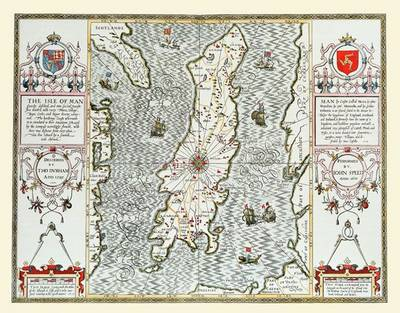 John Speed's Map of Isle of Man 1611: Colour Print of Map of Isle of Man 1611