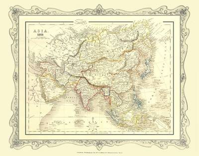Map of Asia 1852: Colour Photographic Print of Map of Asia 1852