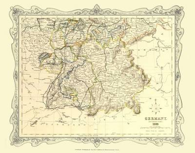 H Collins Map of Southern Germany 1852: Colour Photographic Print of Map of Southern Germany 1852