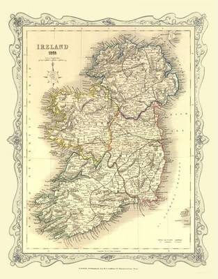 H Collins Map of Ireland 1852: Colour Photographic Print of Map of Ireland 1852