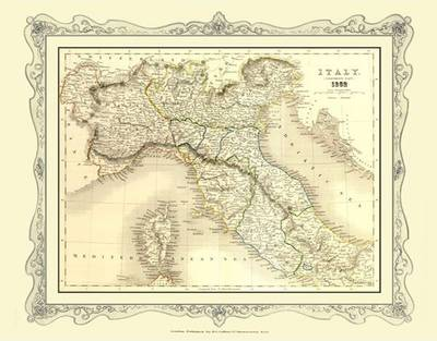 H Collins Map of Northern Italy 1852: Colour Photographic Print of Map of Northern Italy 1852