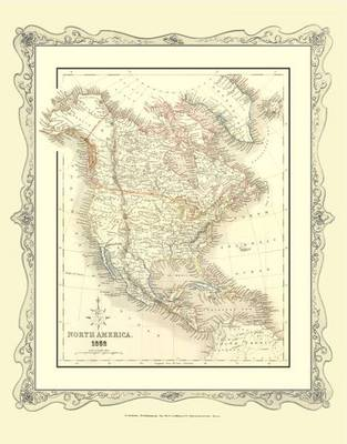H Collins Map of North America 1852: Colour Photographic Print of North America 1852