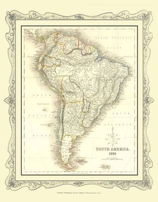 H Collins Map of South America 1852: Colour Photographic Print of Map of South America 1852
