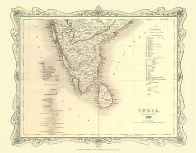 H Collins Map of Southern India 1852: Colour Photographic Print of Map of Southern India 1852