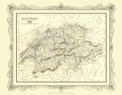H Collins Map of Switzerland 1852: Colour Photographic Print of Map of Switzerland 1852
