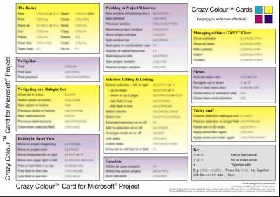 Crazy Colour Quick Reference Card for Microsoft Project: Crazy Colour Card for Microsoft Project