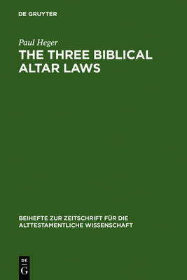 The Three Biblical Altar Laws: Developments in the Sacrificial Cult in Practice and Theology. Political and Economic Background