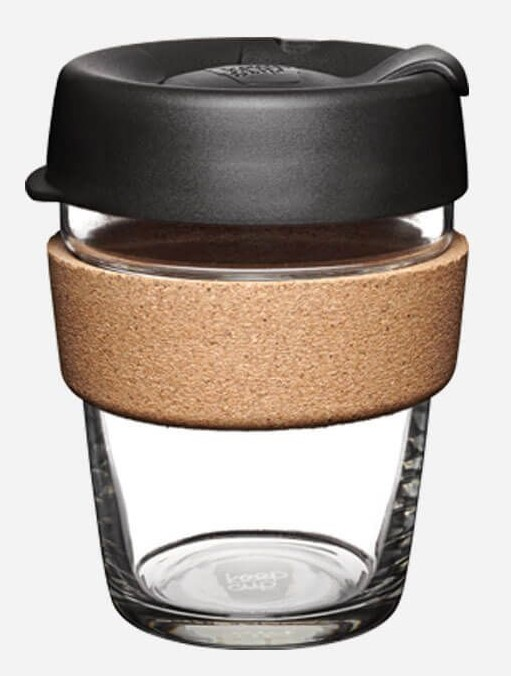Espresso 12 oz Glass with Cork Band Re-usable Cup