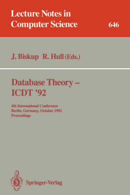 Database Theory - ICDT '92: 4th International Conference, Berlin, Germany, October 14-16, 1992. Proceedings