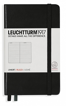 Black Pocket Ruled Hardcover Notebook