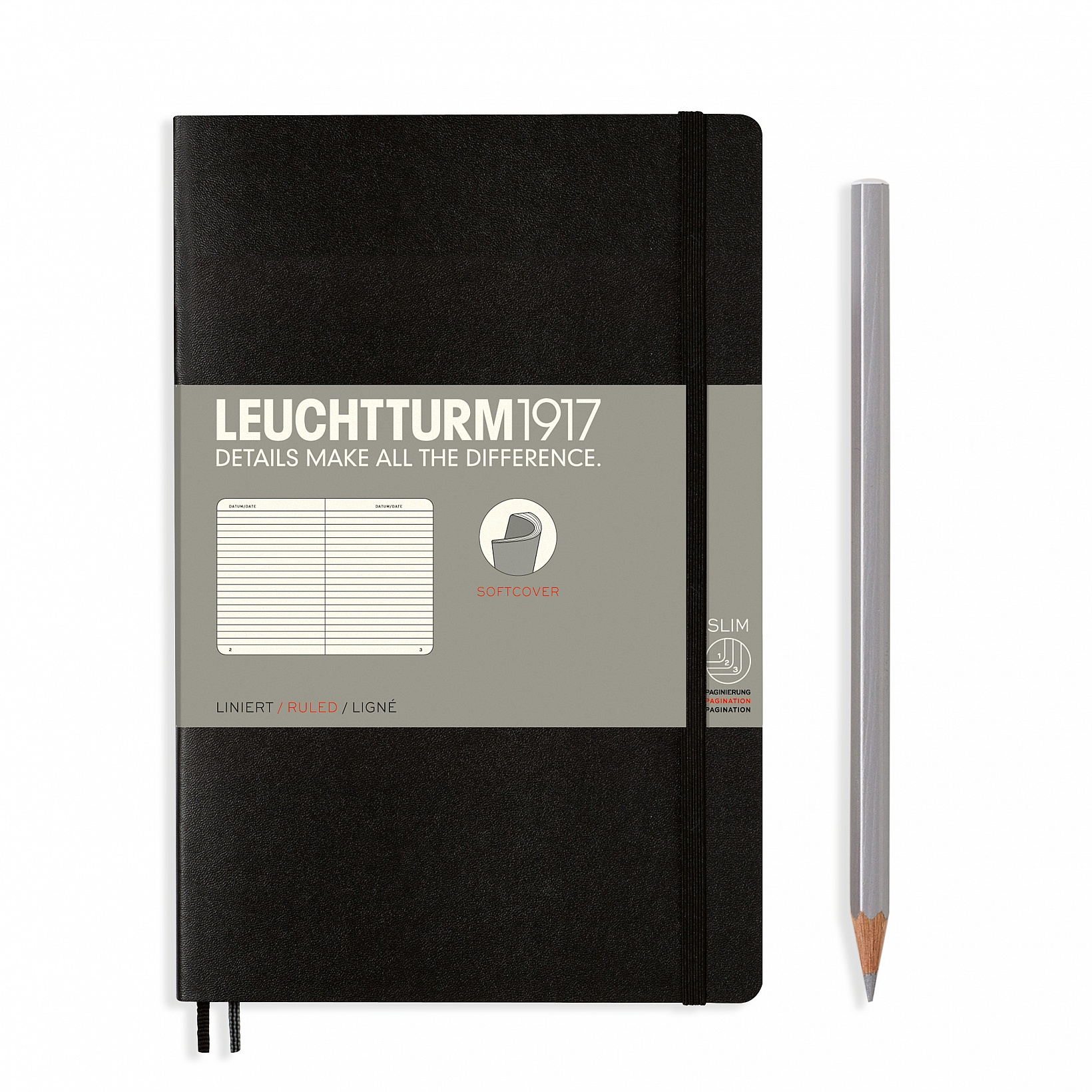 Black B6+ Ruled Softcover Notebook