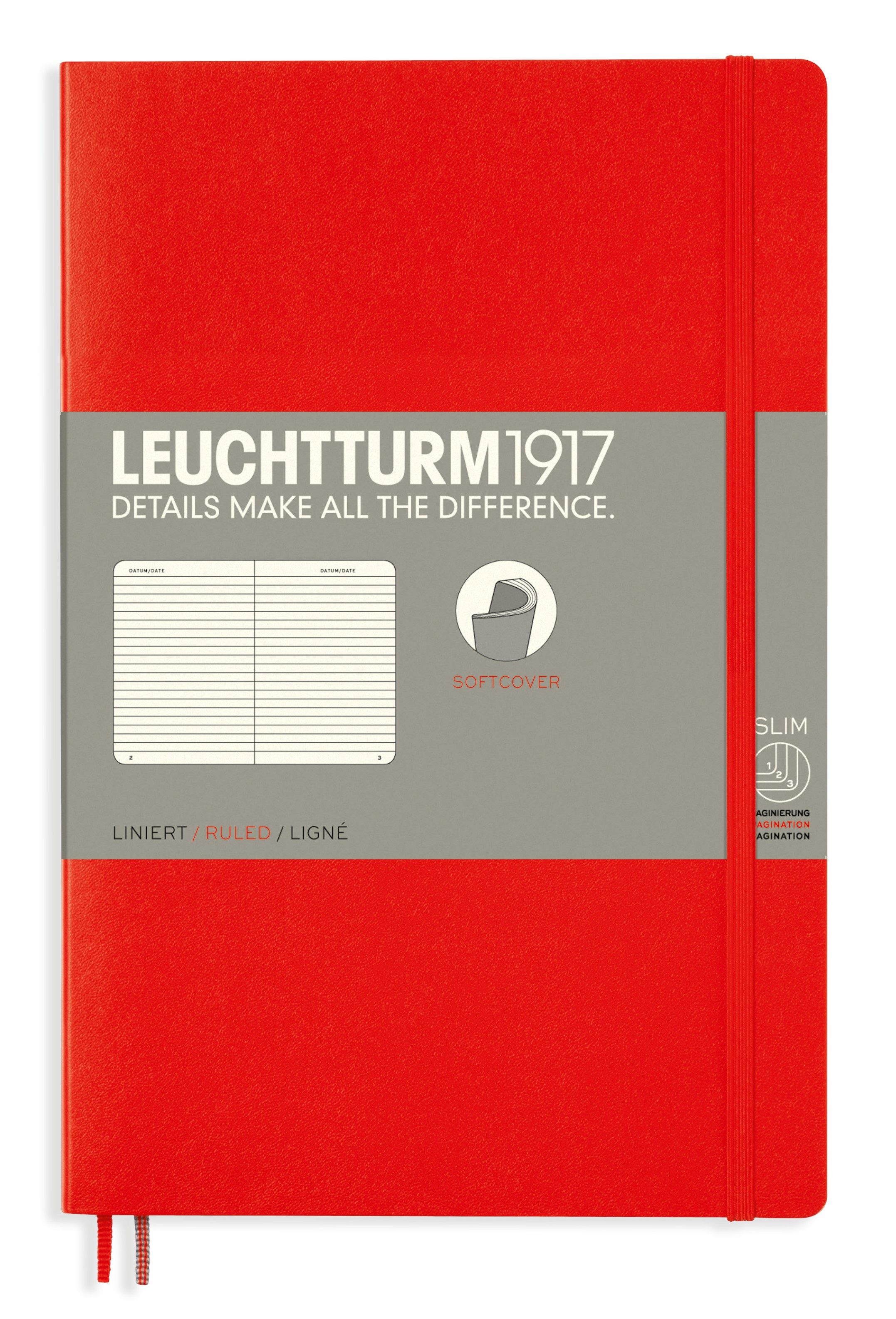 Red B6+ Ruled Softcover Notebook