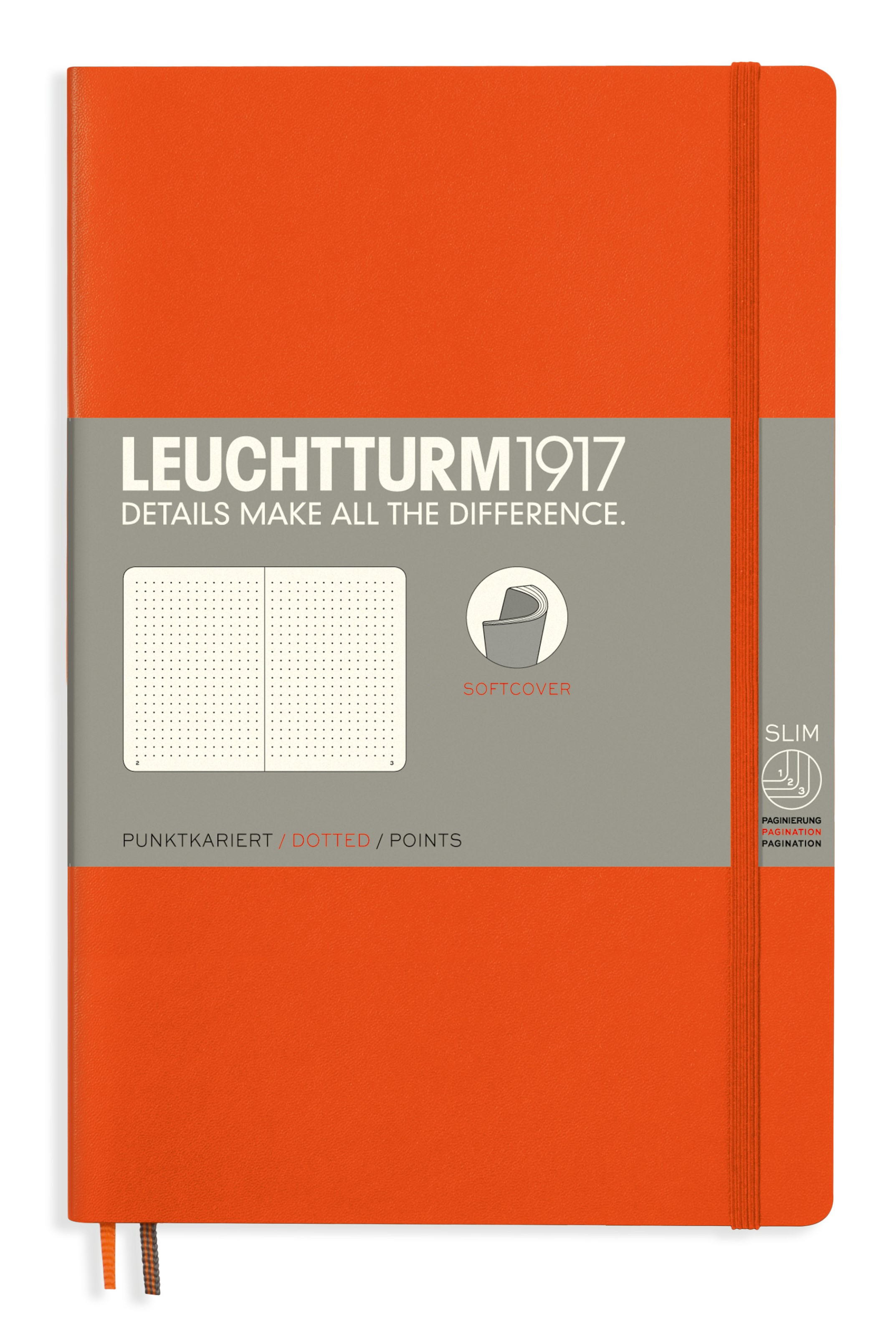 Orange B6+ Dotted Softcover Notebook